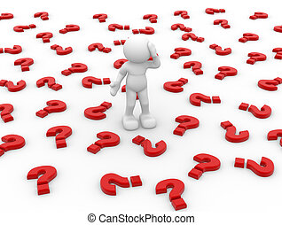 Question - 3d people icon surrounded by question marks -...