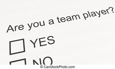 Question and answer: Are you a team player - Yes. Conceptual...