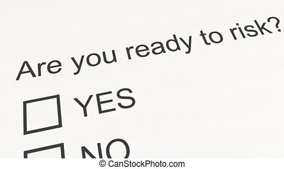 Question and answer: Are you ready to risk - Yes. Conceptual...