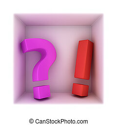 Question and answer - Big exclamation mark and question mark...