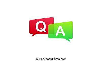 Question and Answer Bubble Chat on white background. Motion graphics