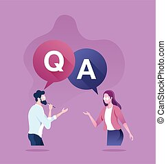 Question and answer concept. Businessman and consultant with speech bubbles