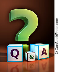 Question and answer - Giant question mark and some cubes ...