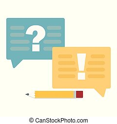 Question and answer marks with speech bubbles or help FAQ concept