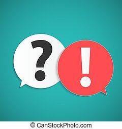 Question and answer marks with speech bubbles, Vector illustration