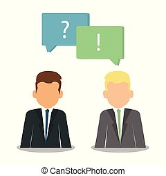 Question and answer marks with speech bubbles. Web development with business seo consulting