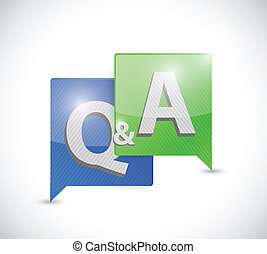question and answer message bubble illustration design over white