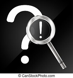 Question and answer with a magnifying glass