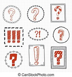 Question and exclamation marks on hand drawn