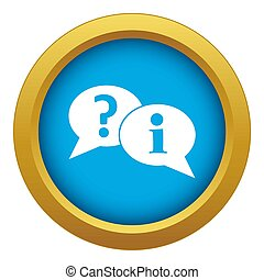 Question and exclamation speech bubbles icon blue isolated