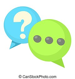 Question and exclamation speech bubbles icon