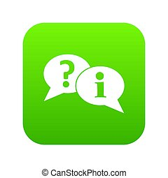 Question and exclamation speech bubbles icon digital green