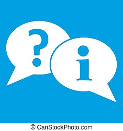 Question and exclamation speech bubbles icon white