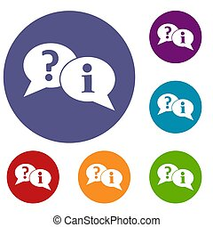 Question and exclamation speech bubbles icons set