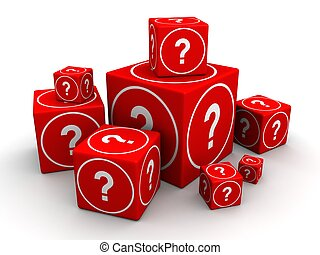 Question and guessing concept - Group of big and small cube...