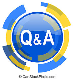 question answer blue yellow glossy web icon