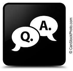 Question answer bubble icon black square button