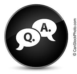 Question answer bubble icon elegant black round button