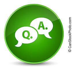 Question answer bubble icon elegant green round button