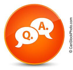 Question answer bubble icon elegant orange round button