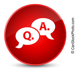 Question answer bubble icon elegant red round button