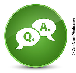 Question answer bubble icon elegant soft green round button