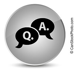 Question answer bubble icon elegant white round button