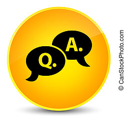 Question answer bubble icon elegant yellow round button