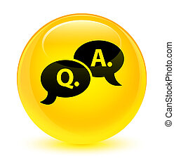 Question answer bubble icon glassy yellow round button