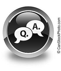 Question answer bubble icon glossy black round button