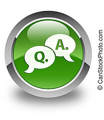 Question answer bubble icon glossy soft green round button