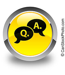 Question answer bubble icon glossy yellow round button