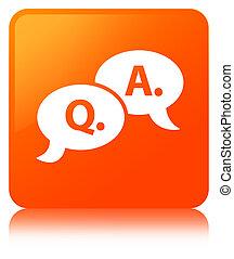 Question answer bubble icon orange square button