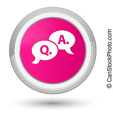 Question answer bubble icon prime pink round button