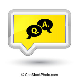 Question answer bubble icon prime yellow banner button