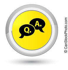 Question answer bubble icon prime yellow round button