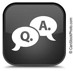 Question answer bubble icon special black square button