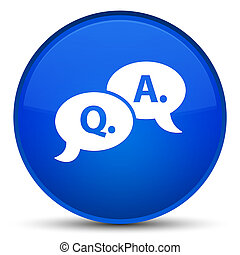 Question answer bubble icon special blue round button