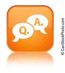 Question answer bubble icon special orange square button