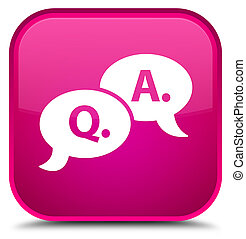 Question answer bubble icon special pink square button