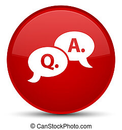 Question answer bubble icon special red round button