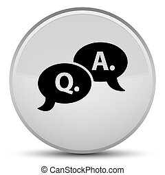 Question answer bubble icon special white round button