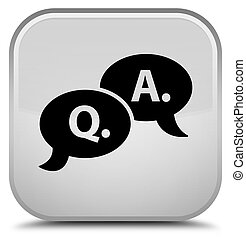 Question answer bubble icon special white square button