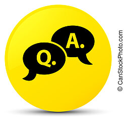 Question answer bubble icon yellow round button