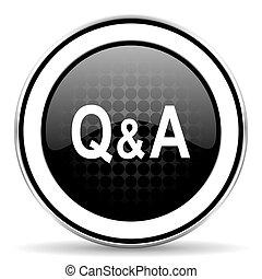 question answer icon, black chrome button