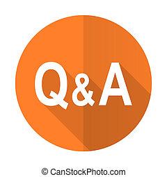 question answer orange flat icon