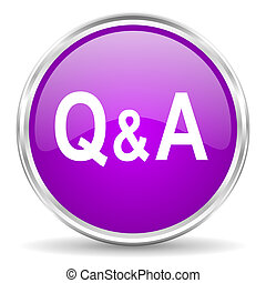 question answer pink glossy icon