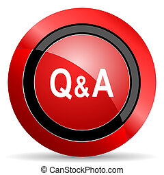 question answer red glossy web icon