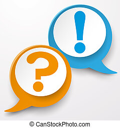 Paper lahels with question and exclamation mark. White background. Eps10 vector file.