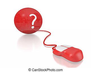 question, balle, marque, souris ordinateur
